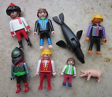 8 Playmobilfiguren: Drachenritter, Taucher, Artist, Mädchen, Seehund, Schweinche