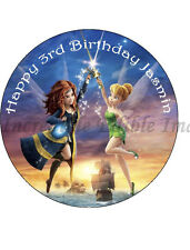 19cm Round Tinkerbell & the Pirate Fairy Edible ICING Cake Topper