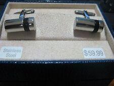 Speidel Cuff links Stainless steel w/ black, NOS, in box