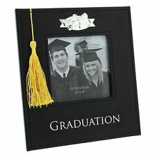 "Black PU Graduation Photo Frame with Gold Tassel 4""x4"" FL30444"