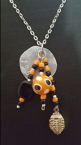 Rustic Handmade Orange Black Dangle Football Spirit Stamp OSU Oklahoma Necklace