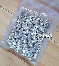 50pcs Horse eye Sew On CLEAR Crystal Glass Diamante Claw Set Rhinestone Bling