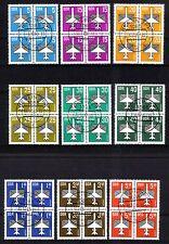 DDR Flugpost Viererblocks 9 Stück komplett gestempelt