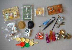 Vintage Lot of Dollhouse Miniatures Food Utensils Umbrella Orange Juice set P932