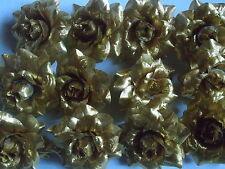 16 GOLDENE  ROSEN  ,ROSENBLÜTEN  GOLD , 4,5 cm ! SEIDENBLUMEN ! HOCHZEIT !NEU