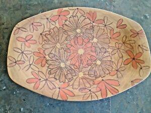 Bessemer Nylex Melmac Vintage Oblong Dinner Plate Flowers 1970s