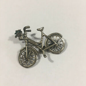 Italy Vintage Miniature Bicycle with Flower Basket - Made of 80% Silver