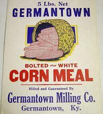 Vintage 5 lb Corn Meal Paper Bag/Sack-Germantown Milling Co-Kentucky KY
