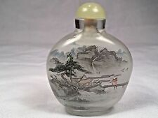 Antique Inside Painted Chinese Glass Snuff Bottle Landscape Boys Crane Signed #2