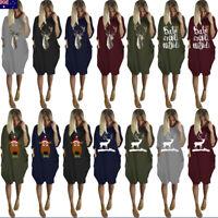 Women's Plus Size Loose Tops Dress Ladies O Neck Long Pocket Christmas Dresses