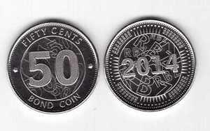 ZIMBABWE – NEW ISSUE 50 BOND UNC COIN 2014 YEAR