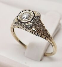 VINTAGE VICTORIAN 18kt WHITE GOLD DIAMOND FILIGREE ENGAGEMENT WEDDING RING Sz 8