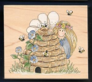 FAIRY Pixie HONEY BEE HIVE large STAMPS HAPPEN #70025 Bumble Keeper RUBBER STAMP