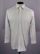 CHARLES TYRWHITT Mens Dress Shirt Purple White Gold Striped SLIM FIT 16 1/2 x 33