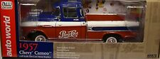 AUTO WORLD 1:18 SCALE RED WHITE AND BLUE 1957 CHEVROLET CAMEO TRUCK