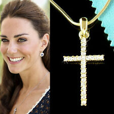 Gold Plate w Swarovski Crystal God Lord Jesus Christ CROSS Pendant Necklace Cute