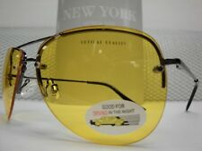 NEW Men Women VINTAGE CLASSIC Day Night YELLOW LENS DRIVING SUN GLASSES Gunmetal