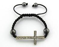 Crystal Silver / Gold Tone Macrame Adjustable Curved Cross Charm Bracelet #SZ03