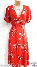 SIZE 18 Red Classic Floral Tea Dress Vintage/Rockabilly/40's/50s/Home Front/WW2