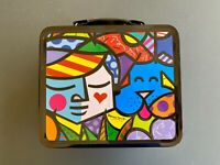 "Romero Britto 2003 ""Mans Best Friend"" Collectable Tin Lunchbox WITH bonus WATCH!"