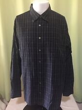 Burberry London Men's Black Checks LS Button Front Shirt XL Made in USA