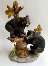 """Baby Bear Cubs Brown Figurine Statue Porcelain Artist til 6"""" Tall"""