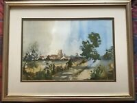 Framed matted signed original watercolour painting by D N Waite Church Path