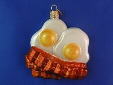 Bacon & Eggs Old World Christmas Ornament Glass Blown Tree Food NWT 32210