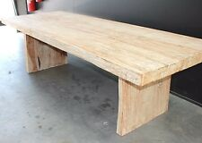 """SALE"", Table, dining, timber - teak, white washed, slab, solid, indoor/outdoor"