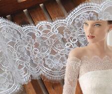 """3Y Black White Eyelash Lace Trim Wedding Fabric 6.29"""" Wide Accessories Beatiful"""