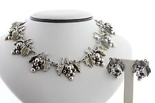 Vine Link Necklace & Earring Set Taxco Mexico Sterling Silver 925 Hamdmade Grape