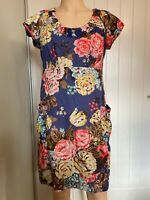 Joules Dress Tunic UK Size 14 L Large Womens Ladies Blue Floral Pockets Summer
