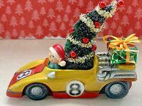 Vintage Mid Century Christmas Tree Santa Claus Raciing Car Assemblage Decoration