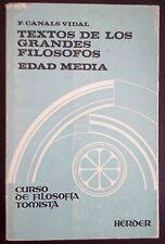 Textos de los grandes filosofos Edad Media - F Canales Vidal - 1979