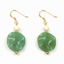 Genuine White Pearl & Natural Green Jade Disc 14K Gold Filled Hook Earrings