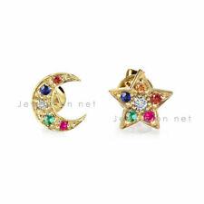 14k Gold Multi Sapphire Rainbow Gemstone Star & Moon Studs Earrings