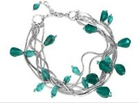Bands of silver twisted ropes with floating aqua drops bracelet in gift bag