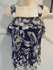 EMERGE LABEL NWOT SIZE 16 BLACK WHITE SLEEVELESS CHIFFON LINED TOP