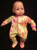 """15"""" Bitty Baby Pink Green Butterfly sleeper pjs pajamas twins girl Doll Clothes"""