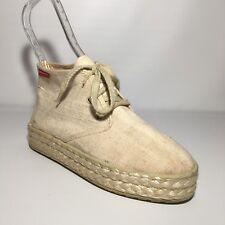 ALAIN MANOUKIAN Women Size EU 39 Beige Espadrille Lace Up Shoes Fabrique France