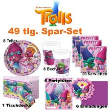 49 Tlg. Spar Set TROLLS Dreamworks Kinder Geburtstag Party Deko