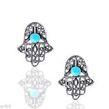 Turquoise Hamsa Hand Stud Filigree Earrings - Genuine Sterling Silver