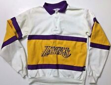 Vintage Los Angeles Lakers RUGBY POLO Shirt Long Sleeve SWEATSHIRT Size Large