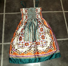 "LADIES L / XL CHEST 36"" WHITE SHINY ETHNIC AZTEC PATTERN SMOCK DRESS BY SWALLOW"