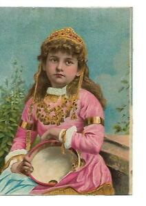 Young Gypsy Girl Gold Hat Tambourine Pink Dress No Advertising Vict Card c1880s