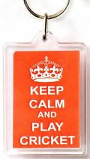 Keep Calm and Play Cricket Acrylic Keyring Ideal Gift