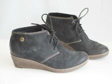 Clarks Boots 5 Black Brown Suede Softwear