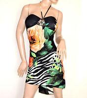 ABITO donna vestito nero floreale bianco verde pesca da sera dress elegante A50C