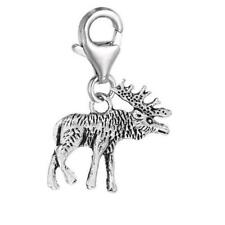 Clip on Moose Charm Pendant for European Clip on Charm Jewelry w/ Lobster Clasp