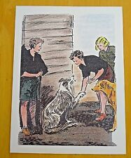THE FAMOUS FIVE PRINTED POSTCARD ~ GEORGE SHAKES A DOGS PAW ~ ENID BLYTON
